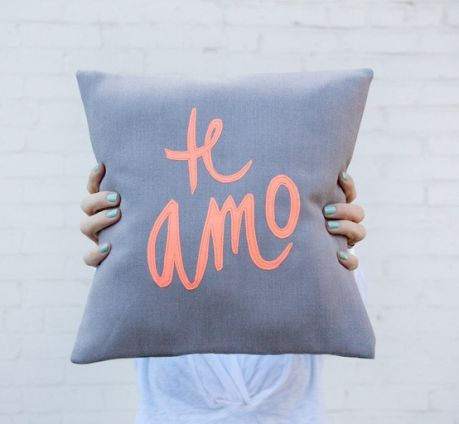 grey-and-neon-coral-te-amo-pillow-12x12