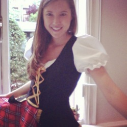 We had a Scottish Pimm's party to celebrate the Wimbledon championship. Like my Scottish highland lass attire??