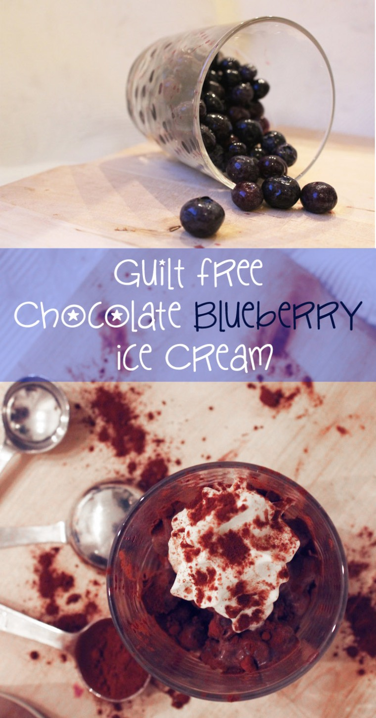 Guilt Free Chocolate Blueberry Ice Cream