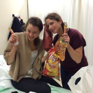 The my friends showed up in the emergency room with prosecco and snacks.