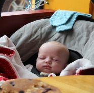Meeting the most handsome baby ever over pancakes.