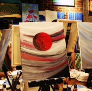 Paint night. They say blue sky and small moon. I say red sky and big moon.
