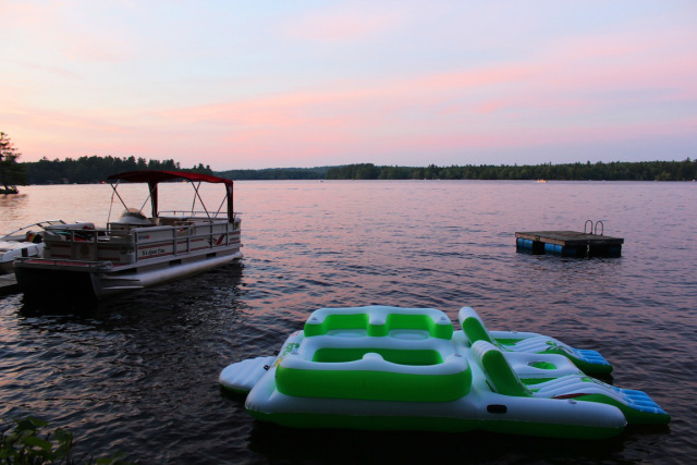 Sunset swims and boat rides at my Grandparent's house on Little Sebago Lake.